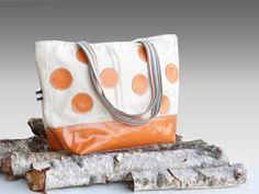 PUMPKIN Orange Leather Tote Bag  Polka Dots Tote  by dawnaparis, €55.00