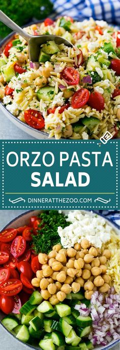 Orzo Salad Recipe | Orzo Pasta Salad | Greek Orzo Salad | Mediterranean Orzo Salad #pastasalad #orzo #greekfood #salad #dinneratthezoo Orzo Salad Recipes, Healthy Salad Recipes, Greek Pasta Salads, Pasta Salad Feta, Recipes With Orzo Pasta, Simple Pasta Salad, Simple Salad Recipes, Risoni Salad, Vegetarian Pasta Salad