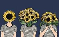 flowers, art, and sunflower image Illustrations, Illustration Art, Landscape Illustration, Sunflower Illustration, Art Tumblr, Art Hoe, Arte Floral, Make Art, Diy Art