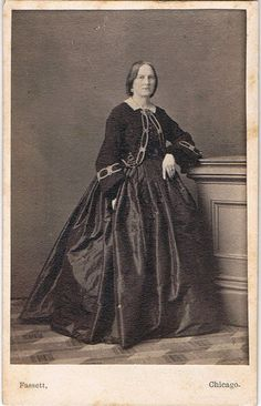 Civil War Era CDV Photo-Elegant Woman Wearing Fancy Dress-By Fassett-Chicago IL. Love the jacket trim