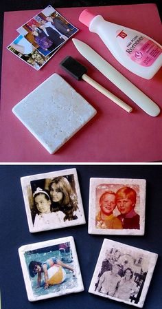 Transfer pictures to tiles with nail polish remover! They make for awesome coasters, and a unique custom gift idea.