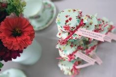 Pink and floral tea party favors for little girls.