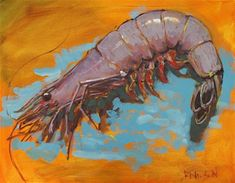 """Daily+Paintworks+-+""""Big+Shrimp+in+Yellow""""+-+Original+Fine+Art+for+Sale+-+©+Rick+Nilson"""