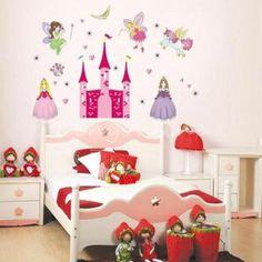 Princess Fairy's Pink Castle & Pony Removable Wall Sticker Girl Kid Home Nursery