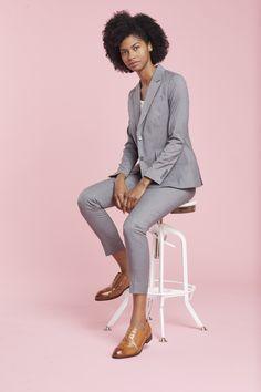 Women's Light Gray Suit Jacket #weddings #graysuit Suit Jackets For Women, Blazers For Women, Suits For Women, Slim Fit Pants, Slim Legs, V Shape Cut, Light Grey Suits, Neutral Bridesmaid Dresses, Stylish Suit