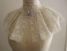Vintage Lace Collar Capelet Wedding Dress by lacesparklevintage, $64.00