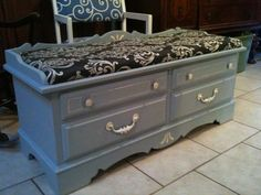 Lane Furniture Cedar Chest with outdated seat cover, aged and faded finish with basic wear and tear is reclaimed in blue, silver and white.