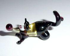 Miniature Glass Mouse Figurine Yellow Black от WeAreLuckyShop