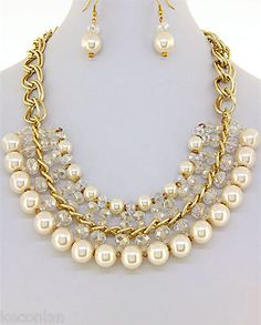 Chunky Gold Tone Faux Pearls Faceted Crystals Statement Necklace  Earrings Set