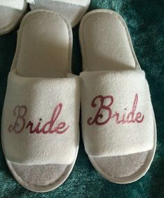 65afa7fed23 Bride Tribe spa day wedding white slippers