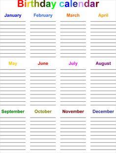 8 Best Images of Printable Monthly Birthday List Templates - Free Printable Birthday Calendar Template, Employee Birthday List Template and Monthly Birthday List Template Excel Calendar Template, List Template, Templates Printable Free, Calendar Printable, Word Templates, Family Birthday Calendar, Kids Calendar, Calendar Ideas, 2019 Calendar
