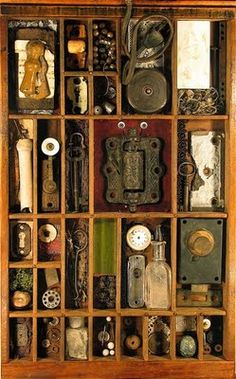 Turn an old printers tray into a shadow box to display small vintage family treasures Altered Boxes, Altered Art, Parks, Vintage Illustration, Shadow Box Art, Found Object Art, Assemblage Art, Displaying Collections, Medium Art