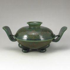 Chinese Natural Green Hetian Jade 3 Leg Incense Burner