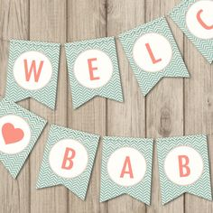 BABY SHOWER BANNER - Welcome Baby Banner - Printable Baby Shower Banner by kimberlyjdesign on Etsy https://www.etsy.com/listing/199390196/baby-shower-banner-welcome-baby-banner