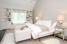 Master bedroom: sofa at foot of the bed Master Bedroom Design, Master Bedrooms, Master Suite, Bedroom Layouts, Bedroom Ideas, Bedroom Decor, Condo Decorating, Bedroom Sofa, Secret Life