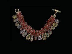 Karen Gilbert: Bracelet, Amethyst, Glass, Quartz, Red Glass Beads, Sterling Silver, 1-1/4 x 7 inches