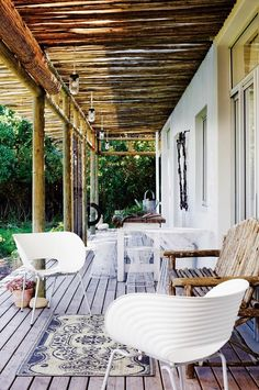 GAP Interiors - Modern furniture on country house veranda - Picture library specialising in Interiors, Lifestyle & Homes Outdoor Rooms, Outdoor Living, Outdoor Decor, Outdoor Seating, Outdoor Chairs, Interior Exterior, Exterior Design, Home Deco, Porches
