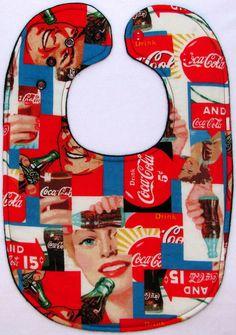 """""""Drink Coke!"""" Baby Bib Rare Vintage Coca Cola Print!"""