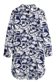 long shirt / shirt dress palm / leaves prints, white and blue H&M long shirt / shirt dress 30 € Chemise longue   H&M