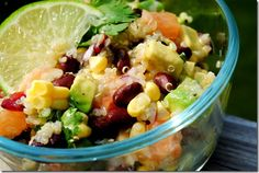 Black Bean & Quinoa Citrus Salad. Can take or leave the grapefruit. Great as a dip for tortilla chips!