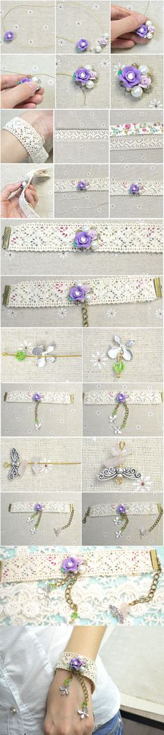 DIY Craft Lace Bracelet with Rose Clay Beads from LC.Pandahall.com     #pandahall