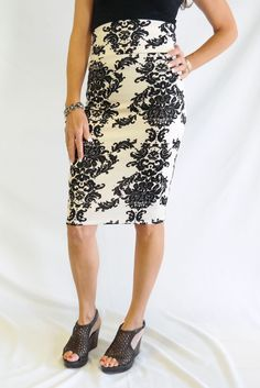 Cream and Black Damask Pencil- only $26! This skirt is my favorite fit and length
