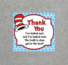 Dr. Seuss Thank You Cat In The Hat Tag Printable Teacher Appreciation Goodie Bag Tags Favor Tags Birthday Party Table Decorations Digital by WendysPaperShoppe on Etsy