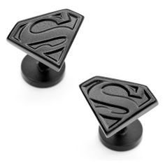 """DC Comics Originals Satin Black Superman Shield Cufflinks Cuff Links Cufflinks Inc. $59.95. Comes packaged in a Limited Edition Collectors Storage Box!. Free Gift Wrapping with each order!. Approximately 3/4"""" x 1/2"""""""