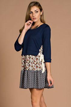 Side Tie Floral Dress - Navy