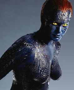 Rebecca Romijn played the shape-shifting Mystique in X-Men. #shessomean