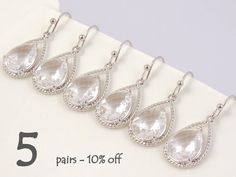 Bridesmaid Gift Set Of 5 10% Off, Maid of Honor Gift for Bridesmaids Jewelry Set, Unique Wedding Earrings Bridal Shower Gift Dangle Earrings