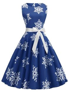 Plus Size Vintage Snowflake Print Christmas Flare Dress Dresses like cloudy, romantic and cheerful Rosegal Christmas Special Sale Use Get OFF Plus Size Vintage Dresses, Plus Size Womens Clothing, Plus Size Dresses, Plus Size Outfits, Plus Size Fashion, Clothes For Women, Dresses For Teens, Modest Dresses, Cute Dresses
