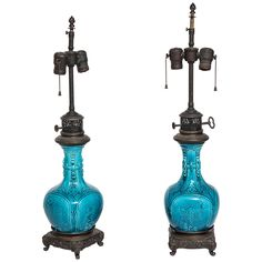 Pair of Porcelain Lamps with Patinated Bronze, Attributed to Theodore Deck   From a unique collection of antique and modern table lamps at https://www.1stdibs.com/furniture/lighting/table-lamps/