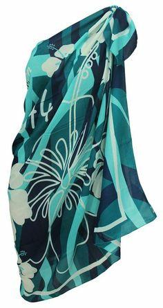 La Leela Hibiscus Floral Printed Wraps Beach Pareo Swim Hawaiian Sarong Green