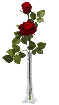 The Silk Roses in Water with Eiffel Tower Vase will make a warm and welcoming addition to your home or office. Comes in clear glass Eiffel Tower vase with liquid illusion faux water. Overall Dimension