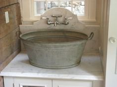 Vintage Galvanized Double Basin Wash Tub or Laundry Sink with Stand Wash Tub Sink, Wash Tubs, Laundry Room Sink, Laundry Rooms, Laundry Tubs, Basement Laundry, Laundry Area, Kitchen Sink, Hidden Laundry