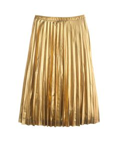Cozy sweaters, cute jackets, festive lingerie make perfect gifts. Pictured here: Pleated Midi Skirt in Metallic, J.CREW.