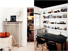 pic on the left: what a pretty table/radiator cover. Black Ceiling, Radiator Cover, Cool Apartments, Radiators, Table And Chairs, Diy Furniture, Shelving, House Design, Living Room