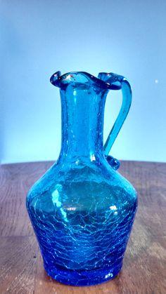 Vintage Antique Crackle Glass Small Pitcher Style Vase