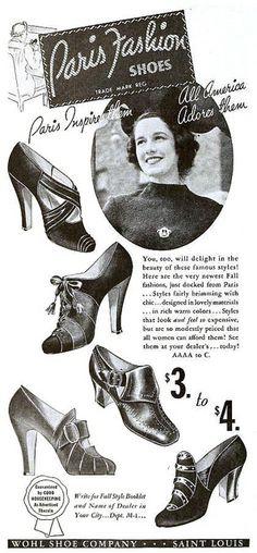 Paris Fashion Shoes ad, October 1937. #vintage #1930s #shoes #fashion
