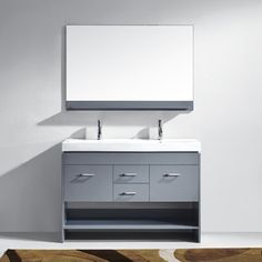 Virtu USA Gloria 48 Inch Grey Double Sink Bathroom Vanity Cabinet Set (48 In.  Ceramic Countertop Grey Vanity), Size Double Vanities