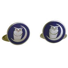 Georg Jensen sterling silver & blue enamel cufflinks No. 71