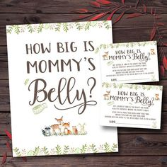 How Big is Mommy's Belly Game Woodland Baby Shower Games Printable Rustic Baby Shower Guess Mommys Belly Size Mom Tummy Guessing Game Baby Shower Activities, Baby Shower Printables, Baby Shower Games, Baby Boy Shower, Mom Tummy, Babyshower, Jamel, Woodland Baby, Woodland Theme