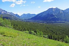 View into Kananaskis Valley from Coal Mine Scar above Nakiska Mountain Resort in Kananaskis Country west of Calgary, Alberta, Canada.