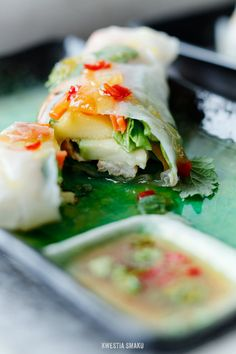 Avocado, Mango  Grilled Chicken Spring rolls with Spicy Orange Sweet  Sour Sauce