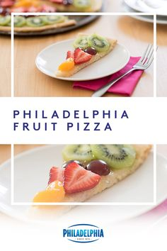 Get a slice of this PHILADELPHIA Fruit Pizza. Top a sugar cookie crust with creamy Philly and fresh fruit for a perfect treat any day of the week. #ItMustBeThePhilly