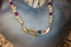 Topaz necklace. Gold 585, Topaz, Rubys. Handmade by Goldsmith Sanna Hytönen, Finland http://www.kultaseppasannahytonen.com/