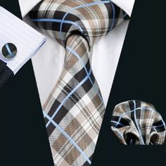 "This is a brand new men's silk tie set. Set includes coordinating tie, handkerchief and cuff link.   Tie length is 61"" from end to end, and 3.25"" width at the widest part of the tie.    **Please note, this item requires three (3) weeks to ship. Please take shipping time into consideration prior to placing your order. Thank you ~ 📦    This item is available for international shipping! 🌎  