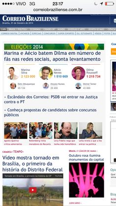 Lead story on Correio Braziliense about how the Brazil Presidential candidates are using Facebook.