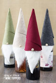 Tell me these Gnome Wine Toppers aren't the cutest things ever?  Make one in 10 minutes.  Great for the wine enthusiasts.  www.livelaughrowe.com #gnome